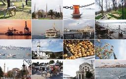 Un collage grande de se?ales y de paisajes de Estambul y de las islas pr?ximas Tiempo de primavera del a?o, parques de florecimie fotos de archivo libres de regalías