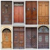 Un collage l puertas principales de la foto a las casas fotos de archivo libres de regalías