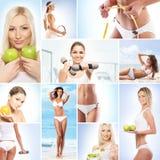 Un collage sobre alrededor mujeres y la nutrición imágenes de archivo libres de regalías