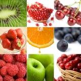Un collage variopinto della frutta di nove foto Immagine Stock Libera da Diritti