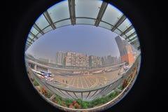 un collegamento moderno di cavalcavia dello staion ad ovest di kowloon fotografia stock libera da diritti