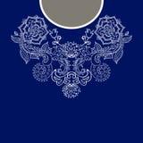 Un collo etnico di due fiori di colori Confine decorativo di Paisley illustrazione di stock