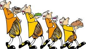 Un colore giallo dei quattro camerieri illustrazione di stock