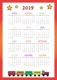 Calendario 2019 Per I Bambini 2019 stock photos