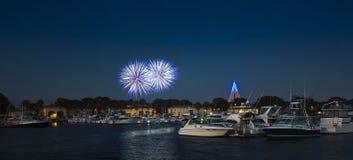 Un colpo dei fuochi d'artificio di Seaworld, Dana Landing, San Diego Fotografia Stock