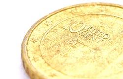 Un colpo del primo piano della bobina del centesimo dell'euro 10 Fotografia Stock Libera da Diritti