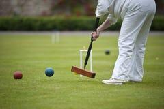Un colpo nel gioco di croquet Fotografia Stock Libera da Diritti