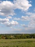 Un colpo verticale di una scena della campagna con erba al fondo Immagini Stock
