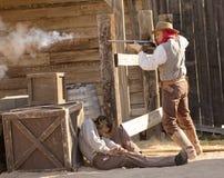 Un combat d'armes à feu chez vieux Tucson, Tucson, Arizona Photos libres de droits