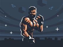 Un combatiente masculino de artes marciales mezclados ilustración del vector