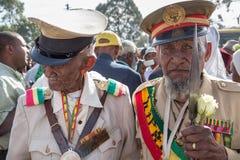 Un combattant avec des médailles célèbre le 119th anniversaire de l'annonce Image libre de droits