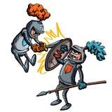 Un combattimento dei due cavalieri del fumetto Fotografia Stock
