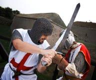 Un combattimento di due cavalieri fotografia stock libera da diritti
