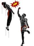 Un combattimento di due di manga dei video giochi combattenti di arti marziali Fotografia Stock
