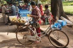 Un comerciante que vende las piñas en la bicicleta Fotografía de archivo