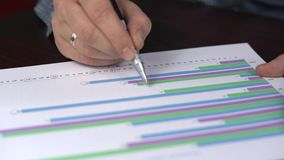 Un commerçant réussi explique comment commercer sur l'échange Il montre sur le diagramme le mouvement des devises et prévoit le d clips vidéos