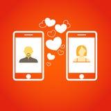 Un communicatitng dei due amanti con i telefoni mobili illustrazione vettoriale