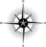 Un compas nautique orienté images libres de droits