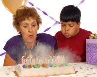 Un compleanno del fuoco e del fumo Fotografie Stock