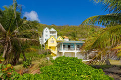 Un complexe de location à la plage d'amitié, Bequia Photo stock
