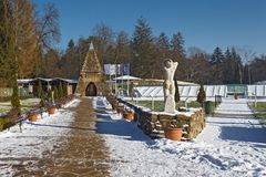 Un complexe thermique de bain dans Miskolctapolca, Hongrie Février 2013 Photos libres de droits