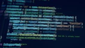 Un computer funzionante con un codice su un monitor illustrazione vettoriale