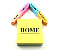 Un concept à la maison fait de notes collantes Image libre de droits