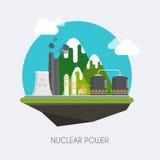 Un concepto de energía verde renovable: una margarita y una hierba sobre el símbolo de la energía atómica quebrada Paisaje y edif Fotos de archivo