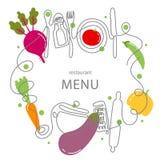 Un concepto del dibujo lineal para un menú del restaurante Línea arte continua de cuchillo, bifurcación, placa, cacerola, cuchara stock de ilustración