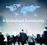 Un concepto social globalizado de la sociedad del establecimiento de una red de la comunidad Fotos de archivo