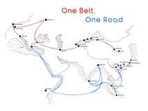 Un concetto della via della seta della strada della cinghia una nuovo connettività e cooperazione del XXI secolo fra i paesi euro illustrazione di stock