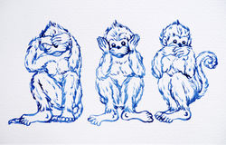 Un concetto divertente di 3 scimmie, progettazione dell'illustrazione della pittura dell'acquerello Fotografia Stock Libera da Diritti