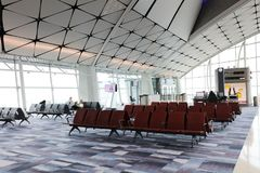 un concours de zone centrale à l'aéroport international du HK Images libres de droits