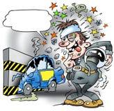 Un conductor de la prueba con un coche probado roto Imagenes de archivo