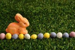 Un conejito anaranjado con una fila de los huevos de Pascua manchados Imagenes de archivo