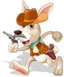 Un conejo que corre con un arma Imagenes de archivo