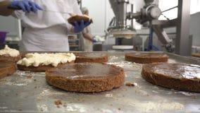 Un confettiere fa il dolce del biscotto con crema, spande la crema con latte condensato sui dolci con l'aiuto di moderno stock footage