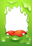 Un confine verde con una lingua rossa di un mostro Fotografia Stock