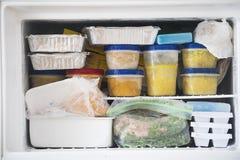 Un congelador lleno con la sopa y el pollo Fotografía de archivo