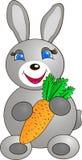 Un coniglietto con una carota Fotografie Stock
