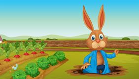 Un coniglio ad un'azienda agricola illustrazione di stock