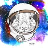 Un coniglio del fumetto in una tuta spaziale del ` s dell'astronauta Carattere nello spazio Illustrazione di vettore illustrazione di stock