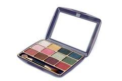 Un conjunto colorido de la paleta del maquillaje Fotos de archivo libres de regalías