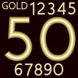 Un conjunto completo de números hechos del alambre del oro con una superficie mate La fuente está al lado de un fondo carmesí osc libre illustration