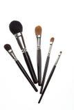 Un conjunto de 5 cepillos del maquillaje. Fotografía de archivo libre de regalías