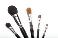 Un conjunto de 5 cepillos del maquillaje en una composición del ventilador. Fotografía de archivo