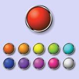 Un conjunto de botones redondos Imagen de archivo