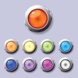 Un conjunto de botones redondos Imagen de archivo libre de regalías