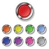 Un conjunto de botones redondos Imagenes de archivo