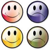 Un conjunto de botones sonrientes felices e infelices de la cara, o Imagen de archivo libre de regalías